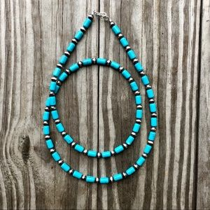 Boho Desert Pearl & Turquoise Bead Necklace 24 IN